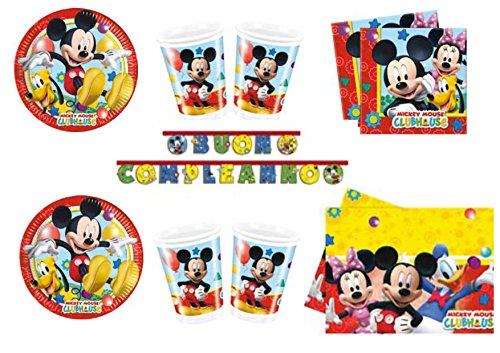 TOPOLINO MICKEY MOUSE ADDOBBI FESTA kit n°26 Cdc - (16 piatti, 16 bicchieri, 20 tovaglioli,1 Tovaglia, 1 Ghirlanda Buon Compleanno)