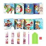 8 Stück DIY 5D Diamond Painting Karten,Geschenkkarte für Weihnachten,DIY Weihnachtskarte mit Diamant,Weihnachten mit Umschläge,Weihnachtsmann-Karten,Diamant Malerei Grußkarte
