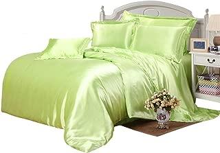 Bedding Kraft Hotel Quality 100% Silky Like Satin 500 GSM 3 Pc. Comforter Set (1 Comforter + 2 Pillow Sham) Sage, Oversized King 98