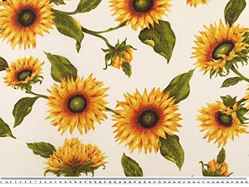 Zanderino a partire da 1 m, tessuto decorativo, girasole, arancione/verde, larghezza 140 cm