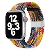 Danwon Braided Solo Loop Compatible with Apple Watch Bands 44mm 40mm 38mm 42mm Sweatproof and Breathable, with Buckles Adjustable Elastic Sports Wristband for iWatch Series 6/SE /5/4/3/2/1 (42mm/44mm, Colorful)