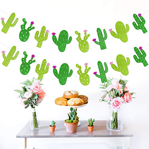 Yaaaaasss! Fiesta Banner Cacti Garlands Green Glitter Mexican Theme Party Decor Llama Party Supplies