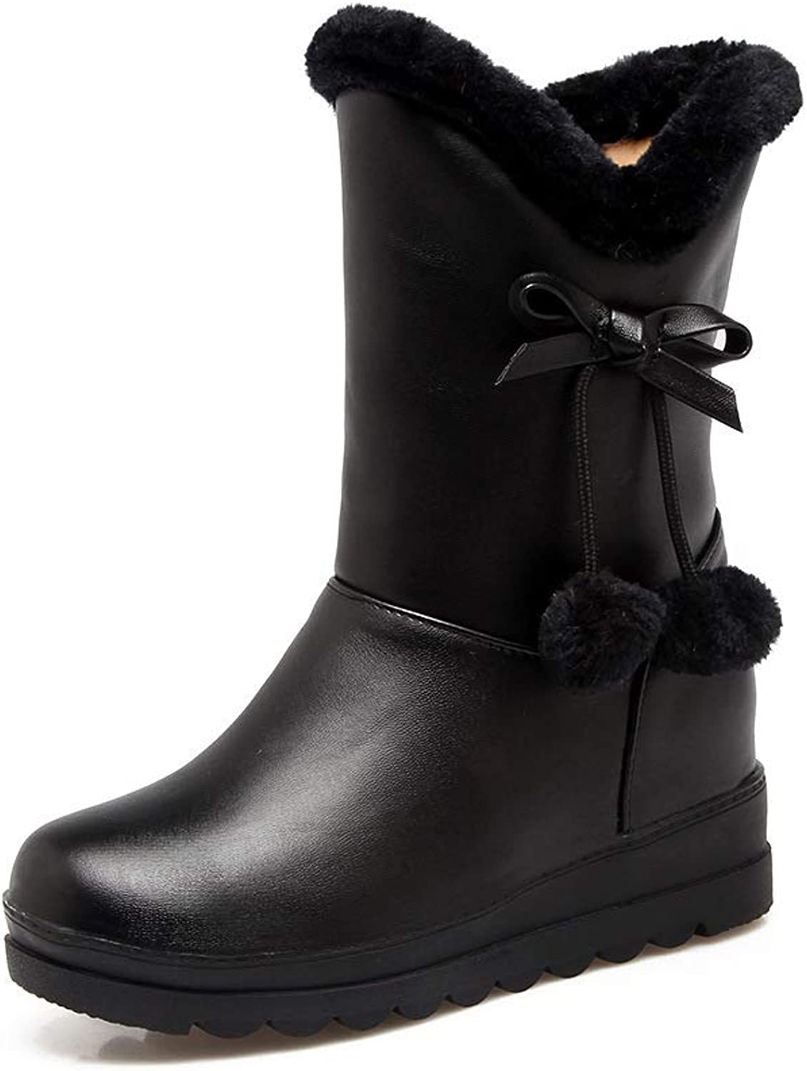 Women Fashion Snow Boots 2018 Winter Comfortable Warm Cotton Boots Outdoor Plush Walking Boots Size 30-42,Black,34