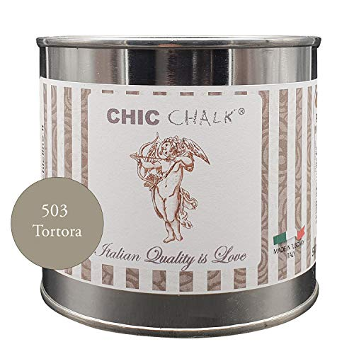 Chic Chalk - 500 ml TORTORA - Pittura gessosa super opaca. Aderisce su tutte le superfici senza primer o carteggio. Ideale per ottenere mobili in stile Shabby e non solo.