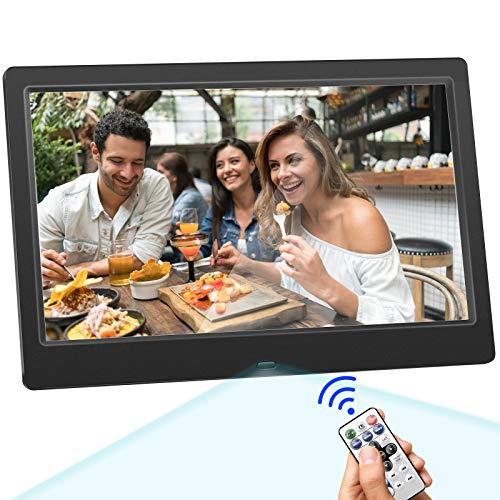 Vogvigo Digitaler Bilderrahmen 25,4 cm mit 32 GB SD-Karte, 1024 x 600 hohe Auflösung, elektronischer Bilderrahmen für Foto/Musik/Video-Player mit Kalender/Wecker/Bewegungsmelder/Fernbedienung