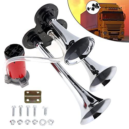 LIUWEI Bocina 12V / 24V 110-135DB Súper Ruidoso Tono Triple Cuerno de Aire Conjunto Compresor de Trompeta para Motocicleta Camión de Barcos de Coche (Voltage : 12V)