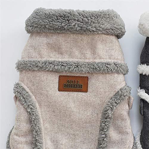 DishyKooker Warmes Haustier-Sweatshirt für Hunde, Mantel mit Knopf, für Teddy, Zwergspitz, Gr. XL, Dunkelgrau