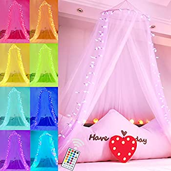 Bed Canopy with 18 Colors LED Star String Lights White Canopy Bed Curtains with Pink Lights for Girls Kids Beds,Hanging Mosquito Queen Princess Bed Netting for Single to King Size,Camping Home
