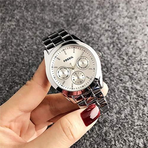 SANDA Reloj Mujer,Vestido de muñeca de Cuarzo Relojes de Mujer Pulsera de Plata Reloj de Mujer Reloj de Acero Inoxidable Reloj Casual para Mujer-Plata
