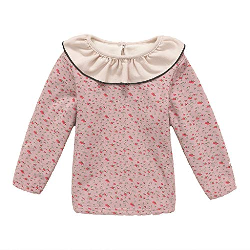 Toddler Baby Girls Peter Pan Collar Pullover Tops Blouse Fineser Kids Long Sleeve Floral Printed Casual Sweatshirt Clothes (Pink, 6-7 Years(140))