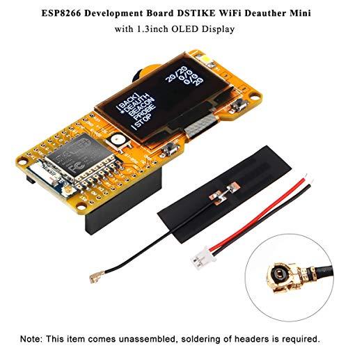 MakerHawk ESP8266 DSTIKE WiFi Deauther 1.3inch OLED Display V2.0.5 Software Onboard und 2dB Antenne, Schutz kurz, Überladung, Überentladung und Temperatur