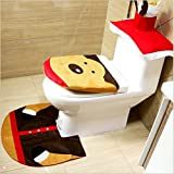 ALIMITOPIA Christmas Toilet Set,Seat Cover Rug and Tank Lid Cover,Xmas Decorative Supplies for Bathroom(1 Set,Reindeer Pattern)