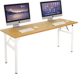 Need Computer Desk Office Desk 63 inches Folding Table with BIFMA Certification Conference Table Workstation,Teak White AC5BW-160