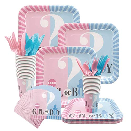 Amycute 84 -teiliges Baby Dusche Party Boy Or Girl Geschirr-Set- Teller, Becher, Servietten, Gabeln, Messer, Löffel, für 16 Personen.