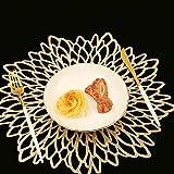 Famibay Weihnachten Platzsets Rund 6er Set Waschbar Tischsets Gold Kunststoff Platzdeckchen für Küche Tisch - 2