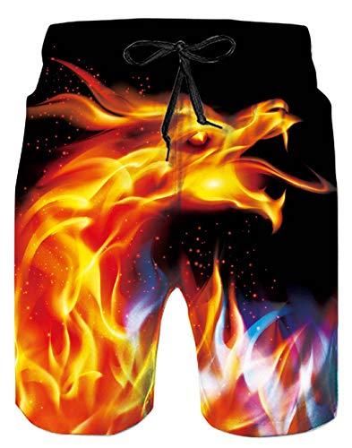 Spreadhoodie Feuer Drache Badeshorts für Herren Hawaiian Lusting 3D Phoenix Badehose Beachshorts Kurze Hose XXL