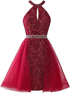 Halter Homecoming Dresses Short Beaded Lace Backless Prom Party Gowns for Juniors