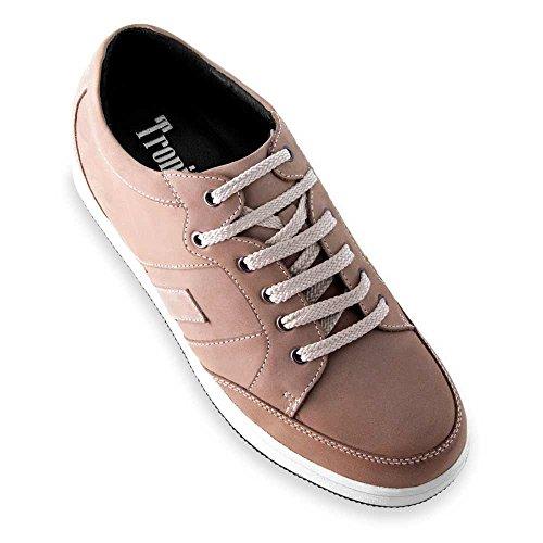 Herrskor med osynliga skoinlägg för extra längd. Bli 6 cm längre. Modell Ibiza A beige 43