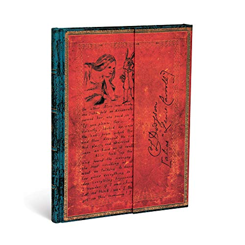 Paperblanks Diari a Copertina Rigida Lewis Carroll, Alice nel Paese delle Meraviglie   Bianco   Ultra (180 × 230 mm)