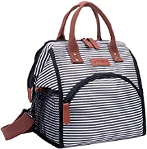 Insulated Lunch Bag, DYNASCO 13L Reusable Lunch Box for Women/Men with Shoulder Strap, Cooler Tote Bag Lunch Bag Waterproof Leakproof for Office Work School Picnic Beach Hiking Fishing - Stripe