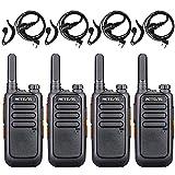 Retevis RT669 Walkie Talkie Professional, PMR446 Mini Walkie Talkie Licencia Libre, Radio Portátil de 2 Vías Recargable para Comercio Minorista, Hotel, Muelle (Negro, 4 Piezas)