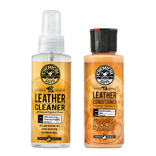 Chemical Guys Leather Cleaner and Conditioner Complete Leather Care Kit (4 Ounce) (2 Items)