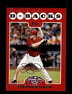 2008 Topps Opening Day # 8 Stephen Drew Boston Red Sox (Baseball Card) Dean's Cards 8 - NM/MT Red Sox