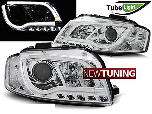 Faros delanteros para Audi A3 8P 05.03-03.08 LED, tubo de luz cromada