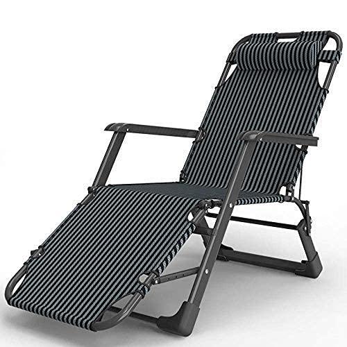 HJQFDC Tumbona Plegable, sillón reclinable, Metal Cero-Gravedad reclinable de Playa cómodo, cojinete máximo de Carga 150 kg-Champagne + Barra de Soporte Mei (Color : Black)