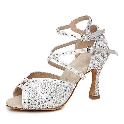 SWDZM Zapatos Baile Latino Mujer y Niñas Baile de Salon Salsa Tango Tacon Alto Profesional Zapatos de Boda de satén Baile,Blanco-9cm,Modello-L432, 37EU