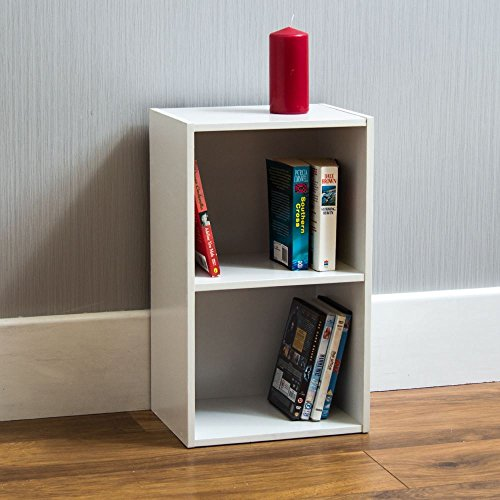 Vida Designs Oxford 2 Tier Cube Bookcase, White Wooden Shelving Display Storage Unit Office Living Room Furniture
