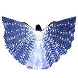 Alas de luz LED Capa Luces de LED Alas Danza del Vientre Mariposa Accesorios de Baile Alas de Color alas Fluorescentes Alas de Baile (Blanco)