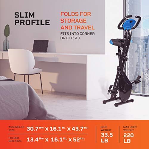 Product Image 8: LifePro Foldable Stationary Bike, Pulse Sensors, Adjustable Resistance – Slim Portable Bike Exercise Machine for Indoor Cycling, Home Gym, Workout – Fitness Equipment for Men, Women, Seniors