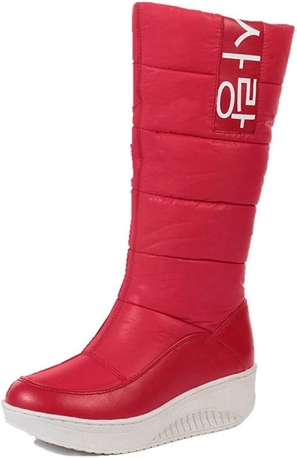 T-JULY Women's Ladies Snow Boots Wedges Heels Slip on Winter Boots Fur Inside Mid Calf Boots Sweet shoes Size 35-44