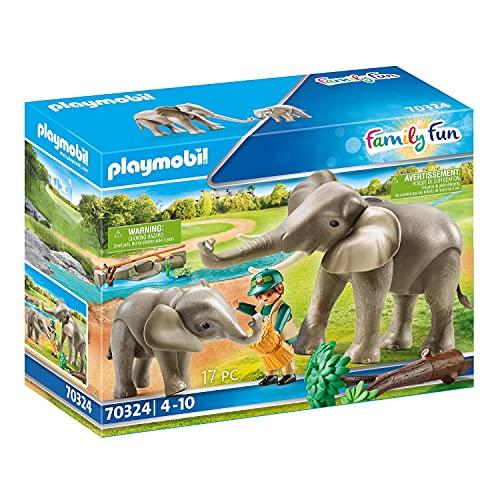 PLAYMOBIL Family Fun 70324 Elefanten im Freigehege, Ab 4 Jahren