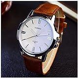 Lanlan - Reloj de pulsera de cuarzo analógico, formal o ocio, elegante para hombre, Brown Band White Dial