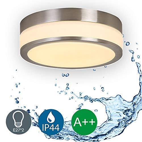 LED Badezimmerleuchten Decke IP44 Wasserdichte 11 Zoll Deckenleuchten mit Glas Lampenschirm für Küche Schlafzimmer Wohnzimmer Flur E27 * 2 Sockel Maximal 60 Watt