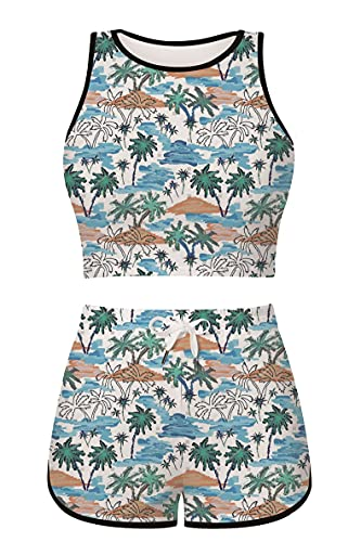 uideazone 2 Piece Outfits for Women Round Neck Hawaiian Tree Graphic Booty Shorts