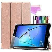 Billionn Huawei MatePad T8(kobe2-L03 / KOB2-L09)タブレット用フォリオ3つ折りスタンドスマートケース[超薄型] [超軽量]、ローズゴールド