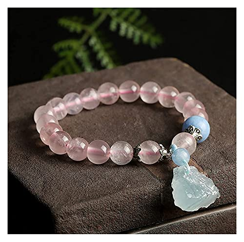Feng Shui Pulsera de cristal natural para la prosperidad de riqueza Curación Rose Cuarzo Aquamarine Crudo Piedra Pura Plata Curación Curación Chakra Piedra de piedras preciosas Talismán Atraer