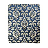 Adowyee 50x60 Inch Soft Decor Throw Blanket Flower Floral Pattern Baroque Damask Gold and Dark Blue Warm Cozy Flannel Bed Blankets for Home Sofa Couch Chair Living Bedroom