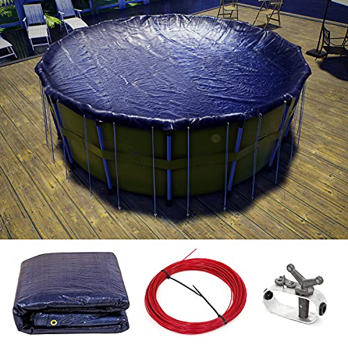 ColourTree 15' Round Plus Navy Blue Winter Swimming Pool Cover Tarp Tarpco Safety Extra Heavy Duty ,Waterproof, UV Resistant - 8 Years Warranty ( Cover Size: 19' / 4 ft. Overlap )