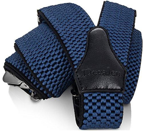 Decalen Hosenträger für Herren breit extra starken 4 cm mit 3er Clips Y Form Lang für Männer und Damen Eine Größe Passt Alle Verschiedenen Farben (Blau)