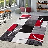 TT Home Alfombra Diseño Contorneada Motivo Cuadros Rojo Negro, Größe:200x290 cm