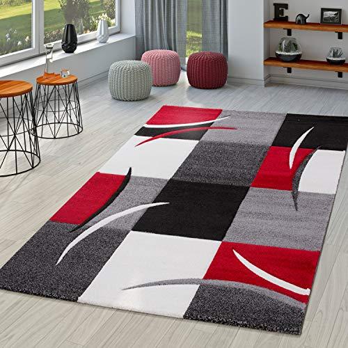 TT Home Teppich Wohnzimmer Modern Palermo mit Konturenschnitt in Grau Rot Schwarz Creme, Größe:300x400 cm