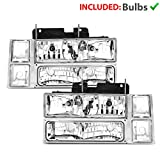 96 chevrolet silverado headlights - AmeriLite Clear Replacement Headlights Parking Turn Signal Sets for 94-98 Chevy Fullsize - Passenger and Driver Side