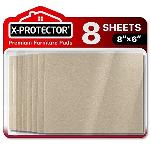 Fieltro adhesivo X-PROTECTOR – Deslizadores para muebles – 8 Premium fieltro autoadhesivo de 5 mm de grosor 20x16cm - Almohadillas fieltro Protegerán pisos de madera contra rasguños y marcas