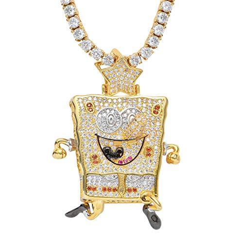 Fantex Hip Hop Jewelry - Colgante de Bob Esponja con diseño de diamante de laboratorio con cuerda, diseño cubano con cadena de tenis para hombres