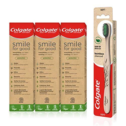 Colgate Umweltfreundliches Set mit Colgate Smile for Good Protection Öko-Zahnpasta 3 x 75 ml und Colgate Bambuskohle-Zahnbürste
