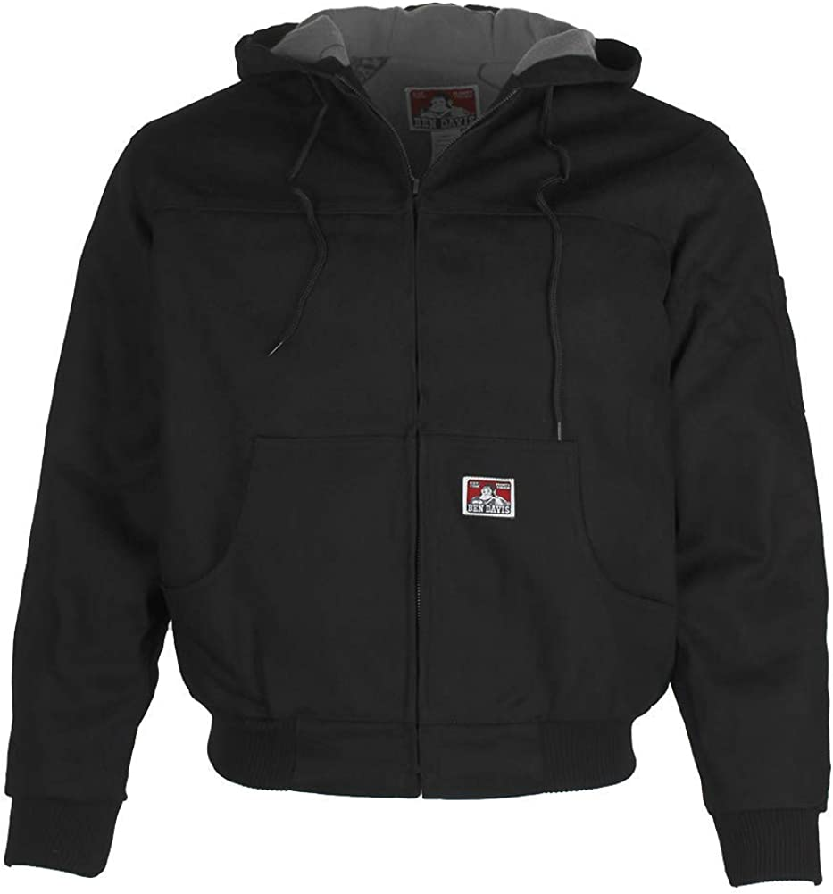 Ben Davis Men Jackets Hooded Front Zipper Fleece Lining Jacket Knit Cuffs Black Small